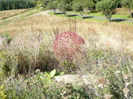 red ball sculpture