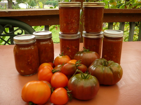 ripe tomatoes and sauce
