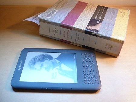 kindle and library book