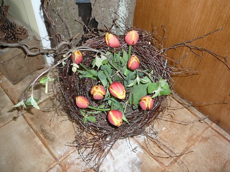 tulips in a rustic basket