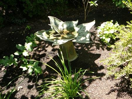 Greenware Pottery bird bath