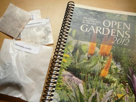 Stewartia rostrata, Eryngium agavifolium, Linaria purpurea & ??? with open gardens book