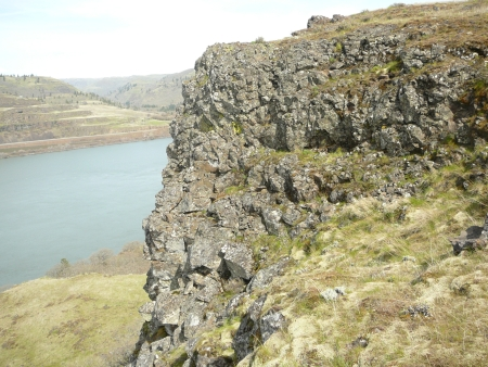 the Columbia River beyond the cliff