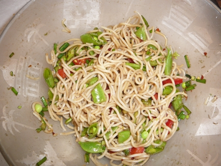 pasta salad with garlic scapes