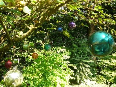 shiny balls in tree
