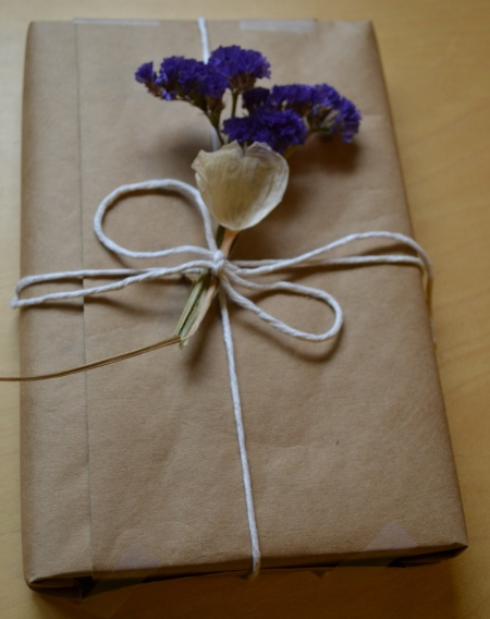 kraft wrapping with dried adornments